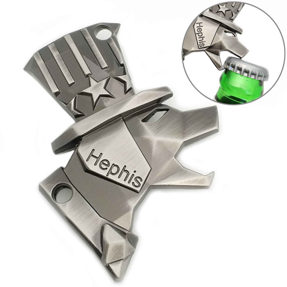 . Hephis Skull Keychain Bottle Opener,Tape Cutter,Unpacker,Box Opener Black